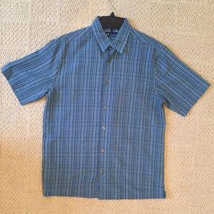 John Ashford Teal Striped Button-Down (S)